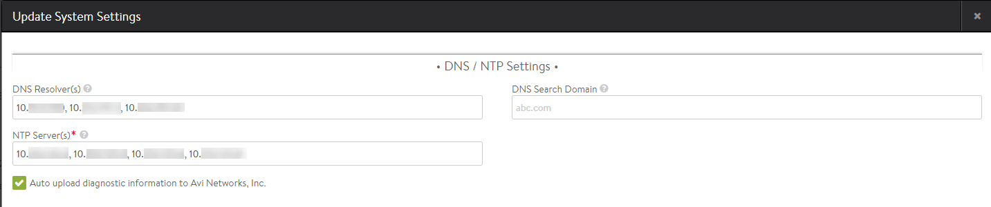 DNS / NTP Settings