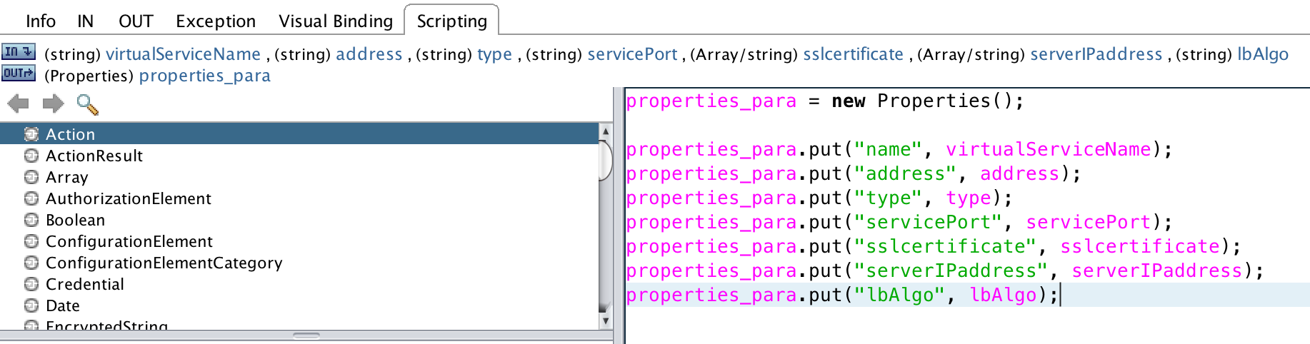 Vrealize orchestrator integration from the scripting tab edit the javascript to add the lbalgo parameter to output parameter propertiespara vro22 xflitez Image collections