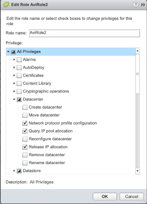 VMware User Role for Avi Vantage