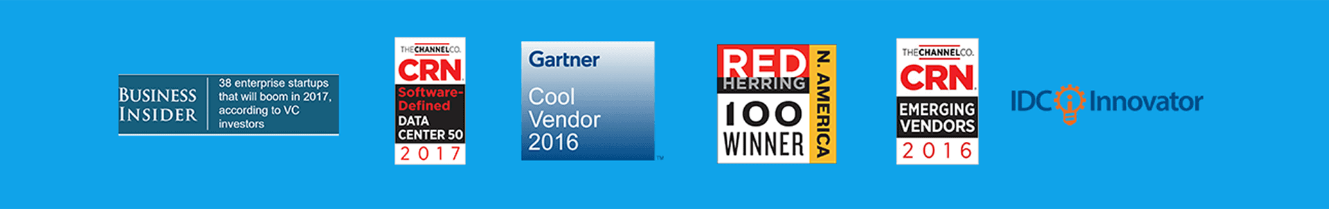 Avi Networks industry awards including Gartner Cool Vendor 2016, Red Herring 100 Winner, CRN Emerging Vendors of 2016, and IDC Innovator.
