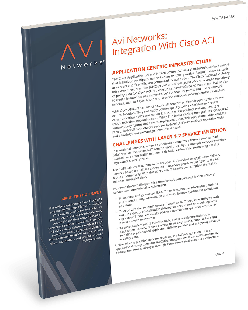 Avi Integration with Cisco ACI