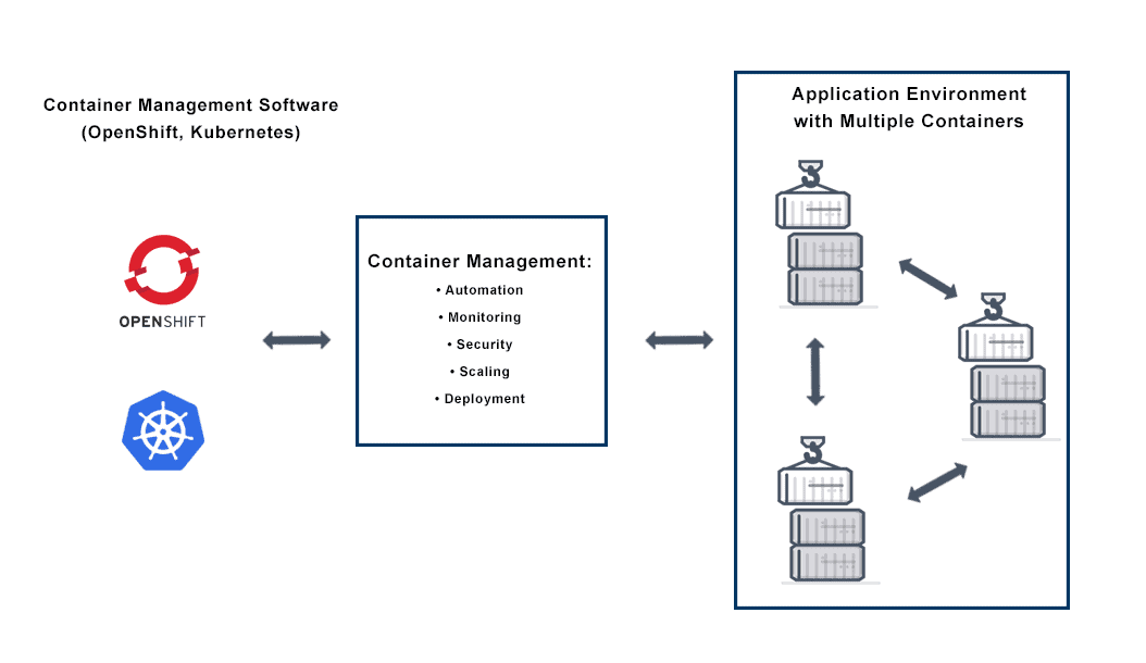 Diagram depicts Container Management for deploying and managing multiple application containers in an multi-cloud or on premise application delivery environment.