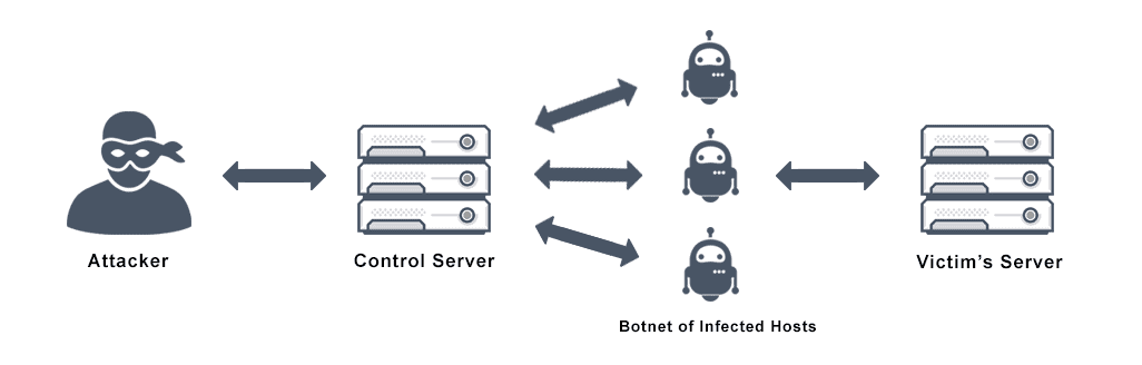 Diagram depicts the process of a DDoS attack from an attacker accessing a control server to leverage a botnet of infected hosts towards a victim's server.