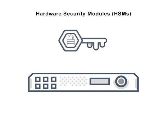 Image symbolizes hardware security module (HMS) cryptographic processor that manages and safeguards digital keys.